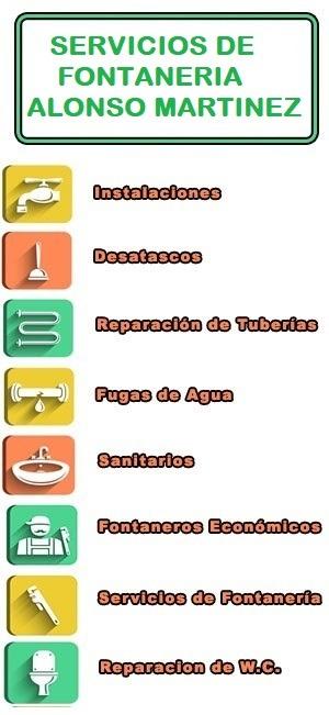 servicios de fontaneria en Alonso Martinez